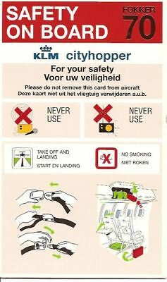 Safety Card - KLM Cityhopper - F70 Cell Absent (SC304)