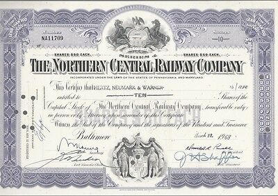 [41777] 1968 The North Central Railway Company Stock Certificate (10 Shares)