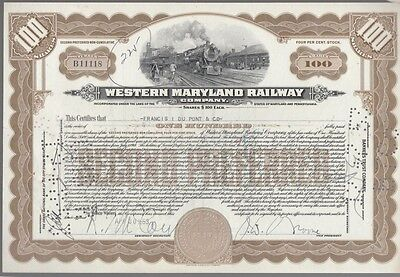 [41760] 1953 Western Maryland Railway Company Stock Certificate (100 Shares)