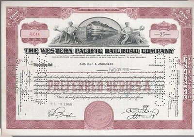 [41757] 1945 Western Pacific Railroad Company Stock Certificate (25 Shares)