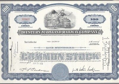 [41762] 1963 Western Maryland Railway Company Stock Certificate (100 Shares)