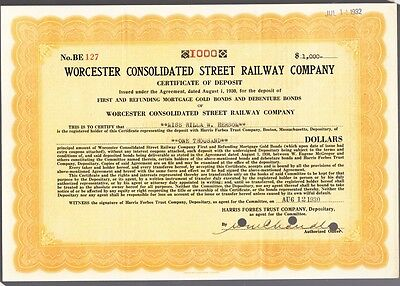 [41758] 1930 WORCESTER CONSOLIDATED STREET RAILWAY $1000 CERTIFICATE OF DEPOSIT