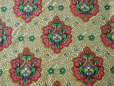 Vintage Retro French Paisley Fabric ~ Mustard Gold Deep Pink Green 1970's