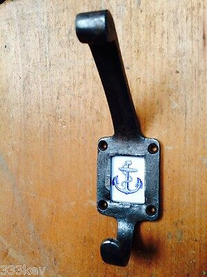 CAST Iron COAT Hook With Blue Anchor Insert    Antique Stlye ..