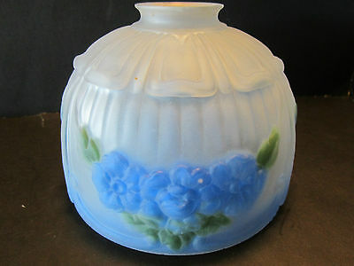 Vtg Art Deco Lamp Frosted Glass Shade Blue Roses Embossed 1920s ceiling