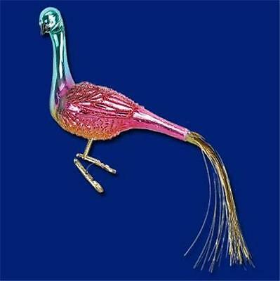 Ruby Peacock Clip-On Bird Old World Christmas Glass Ornament W/Golden Tail 18104