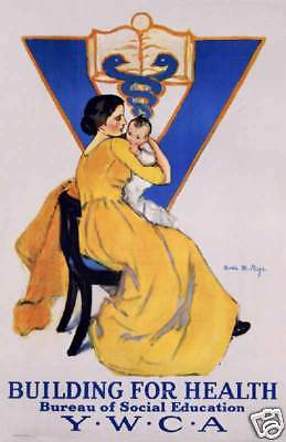 YWCA Building for Health mother child art poster print SKU3643