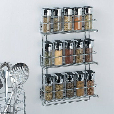New Organize It All 3-Tier Wall-Mounted Spice Rack, Chrome 1812 Free Shipping