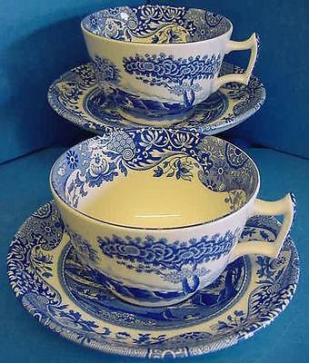 PAIR OF SPODE BLUE ITALIAN BREAKFAST CUPS & SAUCERS MADE IN ENGLAND 1st QUALITY