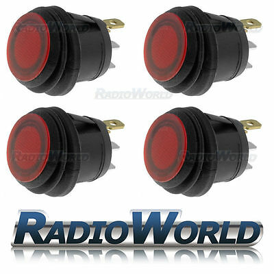 4x Red Illuminated Push Switch 10A 12V SPST Waterproof Dust Water Proof IP65