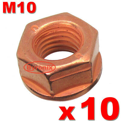 Bmw Exhaust Manifold Pipe Catalyst Nuts M10 Hex Flange Self Locking Lock Copper