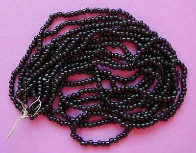 RADIANT CLASSIC JET BLACK VINTAGE GLASS SEED BEADS LOT size 10/0