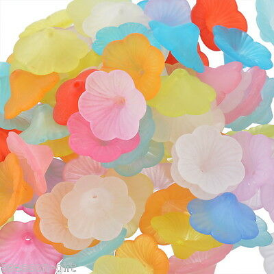 100 Mixed Lily Flower Frosted Acrylic Beads 21x9mm