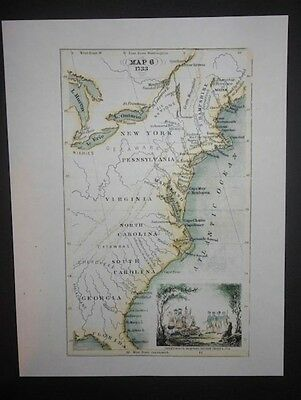 1733 Colonial Map United States Indian Tribes James Oglethorpe Reprint