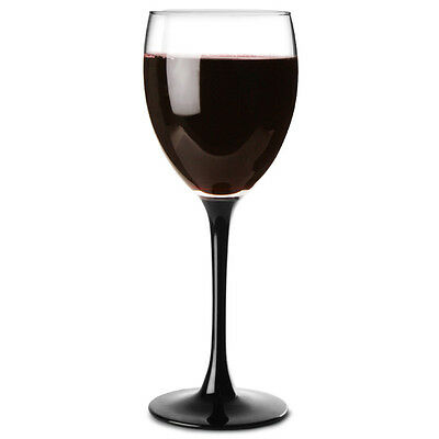 Domino Black Wine Glasses 250ml - Set of 4 | Black Stemmed Wine Glasses