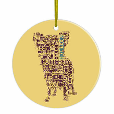 Papillon Hand Printed Ceramic Christmas Holiday Dog Ornament