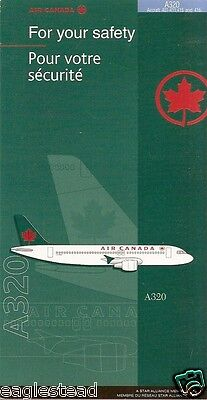 Safety Card - Air Canada - A320 - A/C Specific - 400-411 415 416 (S3424)