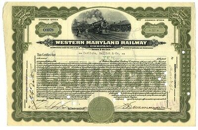 [41920] 1917 Western Maryland Railway Company Stock Certificate (10 Shares)