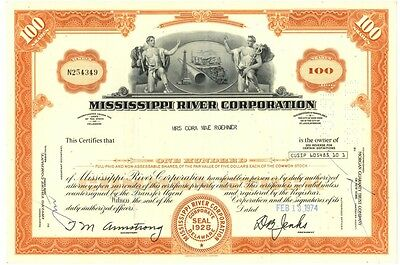 [41923] 1974 Mississippi River Corporation Stock Certificate (100 Shares)