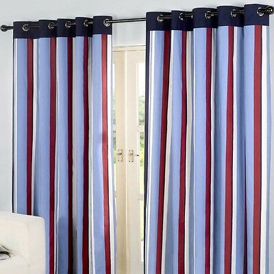 Fully Lined Pair Eyelet Ring Top Ready Made Stripe Curtains Red Cream Blue Black