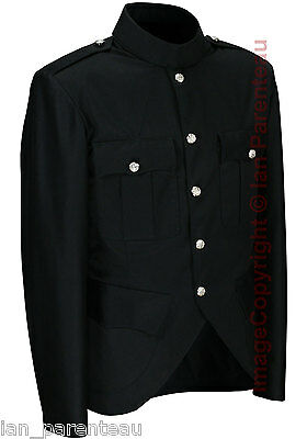 Black Police / Military Style Cutaway Patrol Tunic, Tropical Unlined Poly/Cotton