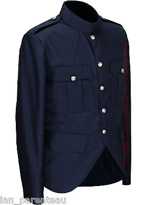 Blue Police / Military Style Cutaway Patrol Tunic, Tropical Unlined Poly/Cotton