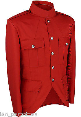 Red Police / Military Style Cutaway Patrol Tunic, Tropical Unlined Poly/Cotton