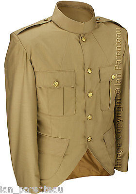 Tan Police / Military Style Cutaway Patrol Tunic, Tropical Unlined Poly/Cotton