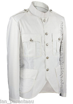 White Police / Military Style Cutaway Patrol Tunic, Tropical Unlined Poly/Cotton
