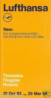 Airline Timetable - Lufthansa - 31/10/93 - Airbus A340 Cover Reference