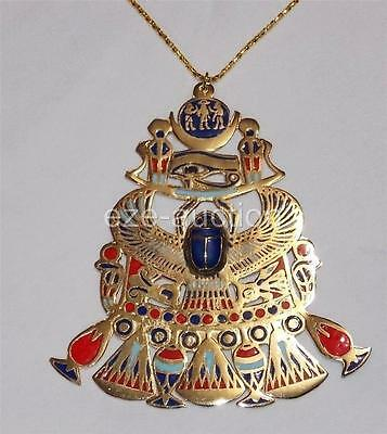 Egyptian Gift Hand Made Falcon Scarab, Eye Of Horus Enameled Gold Brass Pectoral