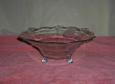 Vintage Depression Clear Glass Serving Bowl Toed Etched Flowers Fleur D'Lis Edge