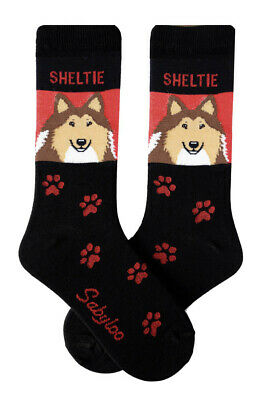 Sheltie Dog Socks Lightweight Cotton Crew Stretch Egyptian Made