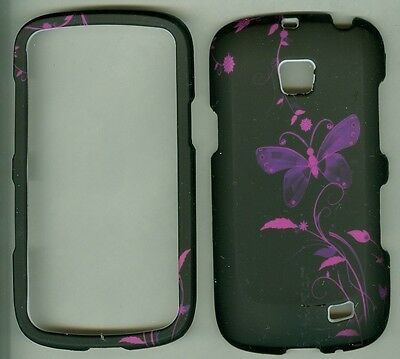 Black Pink Butterfly RUBBERIZED Samsung Illusion SCH-i110 cover protector case