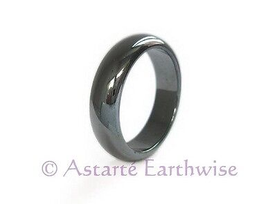 1 X MAGNETIC HEMATITE SOLID RING 6mm Size 8.5 Wicca Witch Pagan ARTHRITIC PAIN