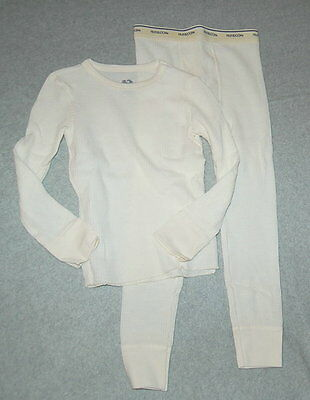 Boys Thermal Set LONG UNDERWEAR XS S M L XL FRUIT OF LOOM Off White