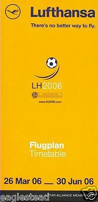 Airline Timetable - Lufthansa - 26/03/06 - World Cup Football Soccer