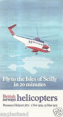 Airline Timetable - British Airways Helicopters - Isles of Scilly - 01/11/74