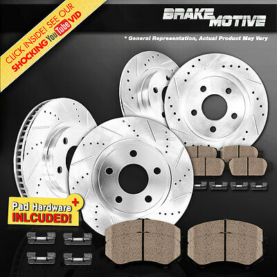 FRONT+REAR 4 PERFORMANCE DRILLED SLOTTED BRAKE ROTORS AND 8 CERAMIC PADS M640857