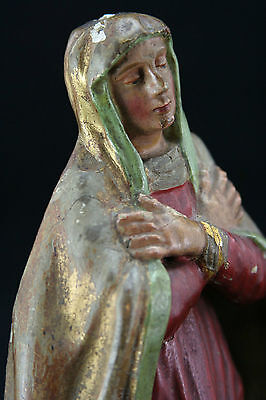 antique 19th Century wooden statue of Holy, Saint Anna, 25cm / 9.8inch