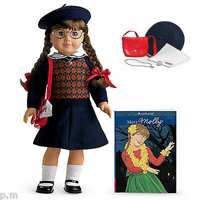 "American Girl 18"" MOLLY DOLL and BOOK + GLASSES ACCESSORIES FAST SHIP NEW inBOX"