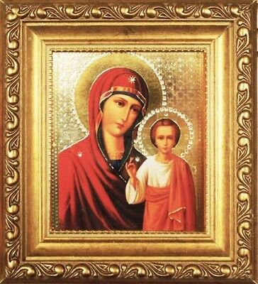 "Virgin of Kazan Madonna & Child 6 1/4"" Russian Icon in Jeweled Frame w Glass"
