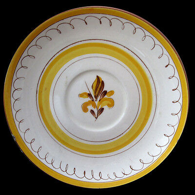 STANGL PROVENCIAL SAUCER BROWN SPIRAL EDGE YELLOW RIM AND YELLOW FLOWER CENTER