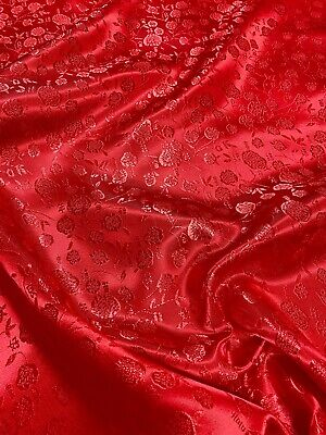 RED on RED FLORAL BROCADE EMBROID FAUX SILK SHANTUNG FABRIC COSTUME DRESS BLOUSE