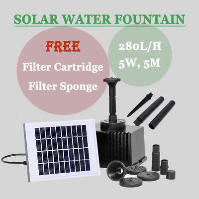 280L/H 5W Solar Power Fountain Submersible Water Pump Garden Pond Pool Feature