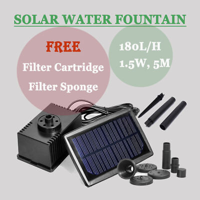 Solar Power Water Feature Fountain Submersible Pump Kit For Garden Pond Pool