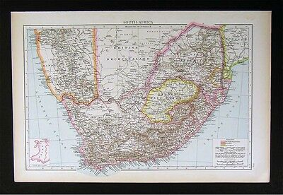 1896 Times Atlas Map - South Africa - Cape Colony Swaziland Orange Natal Namaqua