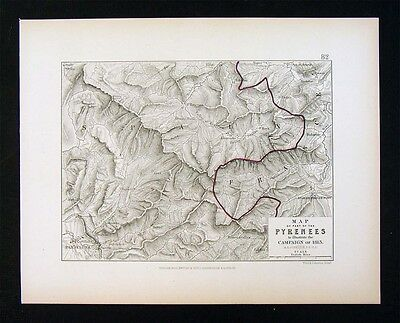 1855 Alison Military Map - Napoleon Pyrenees Campaign 1813 Spain France