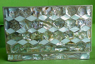 Vintage Mid Century Quilted Diamond Abalone Mother Of Pearl Silver Box Mexico
