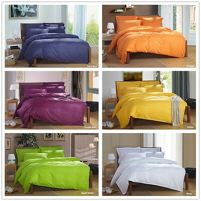 Solid Doona Duvet Quilt Cover Set Single/Double/Queen/King Size Bed Pillow Case